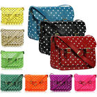 Vintage Womens Ladies Leather Style Polka Dot Spots Satchel Shoulder Hand Bag