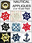 Lot of 2 Nautical Appliques Iron Sew on Anchor Captain Badge Ship Wheel patch