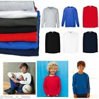 Fruit of the Loom FOTL Kids Children T-Shirt Plain Long Sleeve Boys Girls School