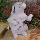 Cast Stone Cement Dog with Guitar Outdoor Garden Statue, used for sale  Snohomish