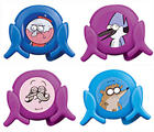 NEW REGULAR SHOW DISC SHOOTERS GIFT BENSON MORT POPS RIGBY JUST SQUEEZE & SHOOT!