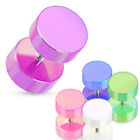 Pair Acrylic Solid Color Fake Cheater Ear Plugs Tunnels Earlets Gauges