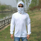 5 Size Quick Dry Long Sleeve Sun Protection Hooded Outdoor Fishing Clothes White