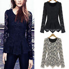 new Women's Long Sleeve Lace Crew Neck Peplum Jumper T-Shirt Tops Blouses