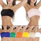 New Womens Ladies French Lace Bra Boobtube Padded Bandeau Bras Crop Top Size S M