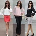 Hot Sale! Round Neck Chiffon Lantern Long Sleeve Blouse Shirt Top Free Shipping