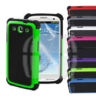 Armor Shock Proof Hard Cover Case For Samsung Galaxy S3 S III w/ Screen Guard