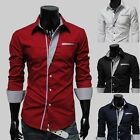 Vintage Mens Luxury Formal Casual Stretch Slim Fit Dress Shirt 4 color 4 size