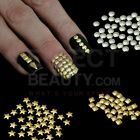 500 Metallic Nail Studs 3D Nail Art - Round Square Teardrop Star - Gold/SIlver