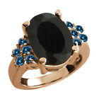 4.62 Ct Oval Black Onyx Blue Diamond Rose Gold Plated Sterling Silver Ring