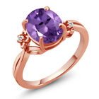 2.52 Ct Oval Purple Amethyst Sapphire Rose Gold Plated Sterling Silver Ring