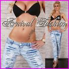 NEW SEXY blue RIPPED SKINNY JEANS WOMEN'S DESTROYED DENIM PANTS jean hotpants sz