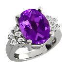 5.00 Ct Oval Purple Amethyst White Topaz Sterling Silver Ring