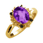 1.62 Ct Checkerboard Purple Amethyst and Diamond Yellow Gold Plated Silver Ring