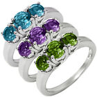 3-Stone Topaz Amethyst Or Peridot Sterling Silver Ring