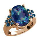 5.03 Ct Flower Petal Mystic Quartz Blue Diamond Rose Gold Plated Silver Ring