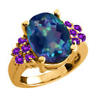 5.10 Ct Flower Petal Mystic Quartz Purple Amethyst Gold Plated Silver Ring