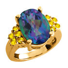 4.65 Ct Millenium Blue Mystic Quartz Yellow Sapphire Gold Plated Silver Ring
