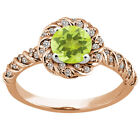 1.63 Ct Round Yellow Lemon Quartz 925 Rose Gold Plated Silver Ring