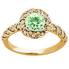 1.50 Ct Round Green Amethyst White Diamond 925 Yellow Gold Plated Silver Ring