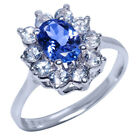 1.40 Ct Oval Tanzanite White Topaz 925 Silver Ring
