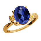 3.38 Ct Simulated Sapphire Diamond Gold Plated 925 Silver Ring