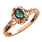 0.57 Ct Oval Green Mystic Topaz Sapphire Gold Plated Sterling Silver Ring