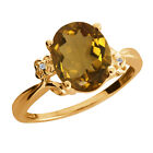 2.31 Ct Oval Whiskey Quartz Diamond Yellow Gold Plated Sterling Silver Ring