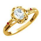 0.45 Ct Oval Sky Blue Aquamarine Red Rhodolite Garnet Gold Plated Silver Ring