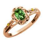 0.42 Ct Oval Green Tourmaline Sapphire Gold Plated Sterling Silver Ring