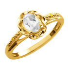 0.56 Ct Oval White Topaz Canary Diamond Yellow Gold Plated Sterling Silver Ring