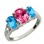 2.70 Ct Oval Pink Mystic Topaz and Swiss Topaz 925 Silver Ring