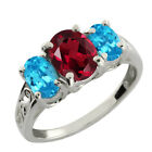 2.50 Ct Oval Rhodolite Garnet and Swiss Topaz 925 Silver Ring