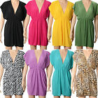 Sexy Women Deep V neck Beach Swimwear Bikini Stretchy Cover Up Sleeveless Dress