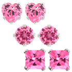 3.00 Ct 6MM .925 Sterling Silver Pink CZ Round Princess or Heart Stud Earrings