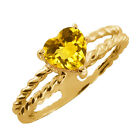 0.72 Ct Heart Shape Citrine Gold Plated Sterling Silver Ring