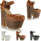 Ladies Womens High Heel Platform Cut Out Demi Wedge Mary Jane Stud Sandals Shoes