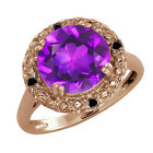 3.19 Ct Round Purple Amethyst and Diamond Gold Plated Sterling Silver Ring
