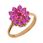 1.45 Ct Oval Pink Mystic Topaz Pink Sapphire Gold Plated Sterling Silver Ring