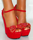 LADIES SUEDE BOW BRIGHT RED BLOOD BLUE PLATFORM WEDGES HIGH HEELS SHOES 3-8