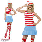 FANCY DRESS COSTUME # LADIES WHERE'S WALLY WALDO WENDA CUTIE DRESS SIZE 4-14