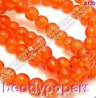 100 Round Glass Sparkling Crackle Beads 8 mm Orange Pink Black / Clear