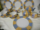 Antique German Bavaria RW Rudoph Peach & Blue & Gold Lusterware Tea Set  19 Pc