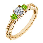 0.54 Ct Round G/H Diamond Green Peridot 14K Yellow Gold 3-Stone Ring