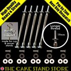 5 x Long Thread Silver Cake Stand Rods + bolts, metal washers & plastic washers
