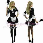 French Maid Victorian Fancy Dress Costume Ladies Outfit Size 6-14 Naughty Black