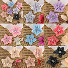 100pcs Mixed Colour Satin Ribbon Flower With Beads Appliques DIY AF7597 34x32MM