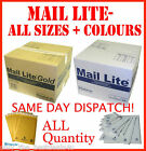 """MAIL LITE GOLD PADDED BAGS ENVELOPES """" ALL SIZES """" ANY QUANTITY WHITE AND GOLD"""