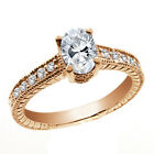 1.35 Ct Oval White VS Topaz 14K Rose Gold Ring