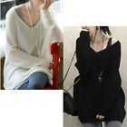 Womens Sexy V-neck Loose Sweater Oversized Batwing Slouchy Knit Shirt Top M1359